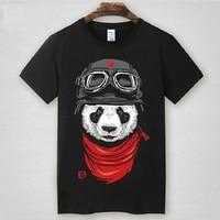 New Fashion US Plus Size Style Men T Shirt Basic Cotton Panda Printed Short Sleeve Casual