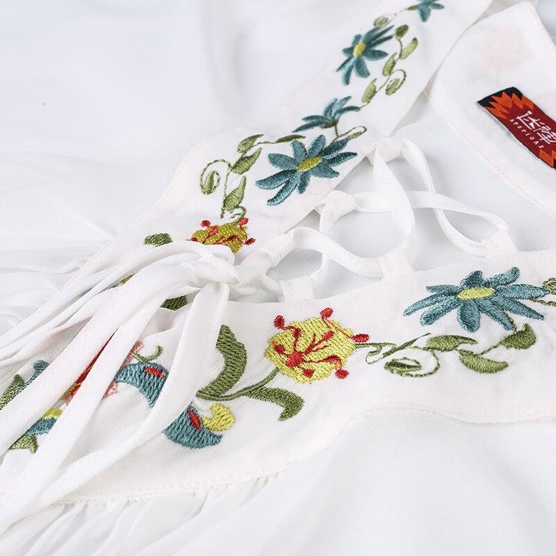 V Casual Été Mousseline Lanter See Ultra Manches Femmes Sexy Printemps White De Broderie Soie Lâche cou Blanc through Blouses En 8vnm0wN