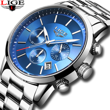 2019 New LIGE Mens Watches Top Brand Luxury Men's Fashion All Steel  Waterproof Analog Quartz Watch Men Silver Blue Sprot Clock цена 2017