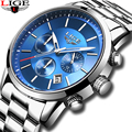 LIGE мужские часы лучший бренд класса люкс  мужские Модные стальные водонепроницаемые аналоговые кварцевые часы мужские серебристые синие ч...