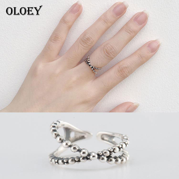 OLOEY Do the Old Vintage Cross Design Rings Women Real 925 Sterling Silver Zircon Open Finger Ring Bague Fine Jewelry YMR114