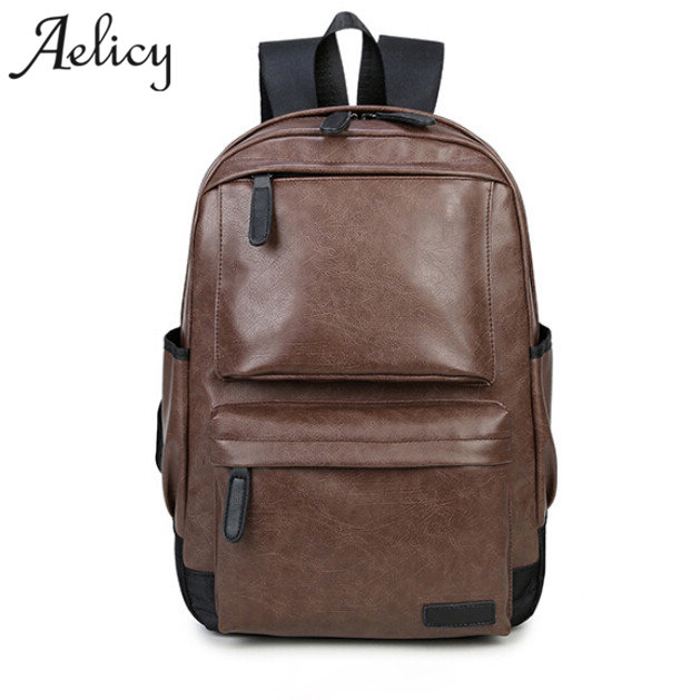 Aelicy Unisex Business Casual Backpacks Travel Bag Black Pu Leather Men's Fashion Shoulder Bags School Bag Boys Men Backpacks