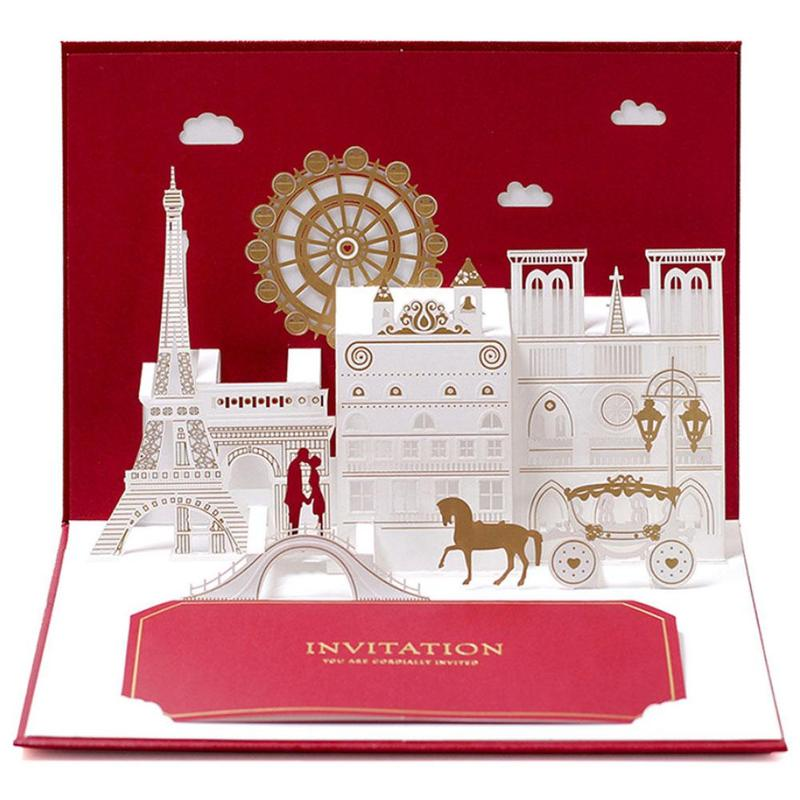 1pc 3D Wedding Invitation Pop Up Greeting Cards Laser Cut