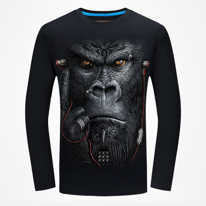New Arrival 2017 Autumn Men 3D Printed Long Sleeve   T  -  Shirt   Animal Pattern Male Fashion hip hop Tshirt Unisex   Shirts   Streetwear