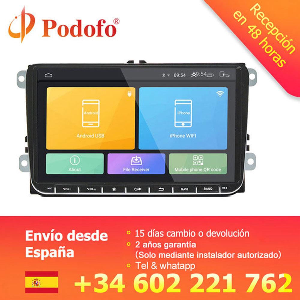 Podofo 9 pouces Android 6.0 autoradio stéréo écran tactile voiture lecteur multimédia 2 din Radio GPS stéréo Wifi pour VW Passat Golf MK5