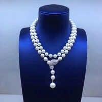 Sinya Pullover kette Runde Natürliche perlen strang lange halskette für Frauen Mädchen Mama liebhaber neueste geschenk Doppel-deck Perle chocker
