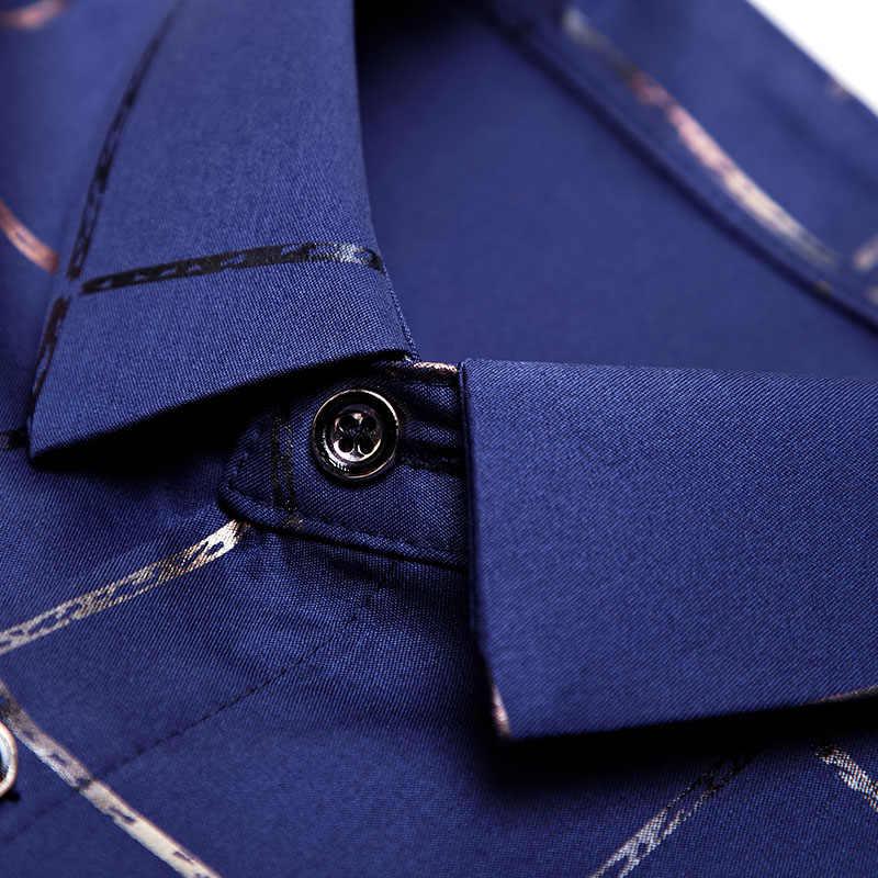 2020 브랜드 캐주얼 봄 럭셔리 격자 무늬 긴 소매 슬림 맞는 남성 셔츠 Streetwear 사회 복장 셔츠 망 패션 저지 2309
