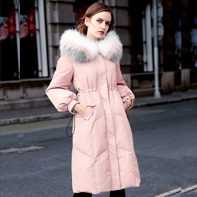 New Fashion Women Winter Jacket 2018 Real Natural Raccoon Fur Long Parka White Duck Down Jacket Thick Warm Coat Female Overcoat