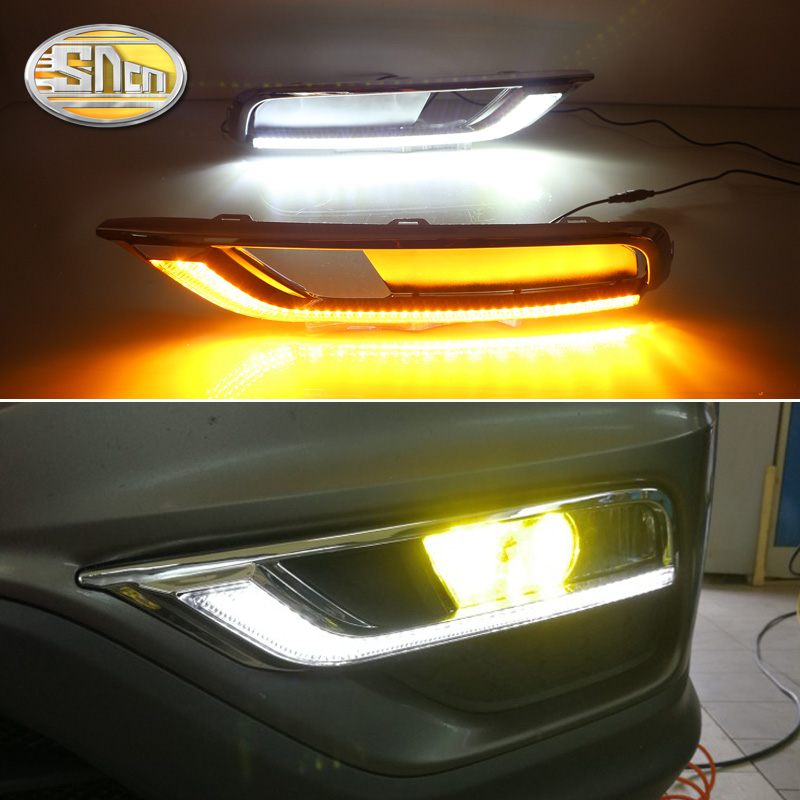 For Honda CR V CRV 2015 2016 Daytime Running Light LED DRL ABS fog lamp cover Driving lights Yellow Turn Signal Lamp 12V Relay