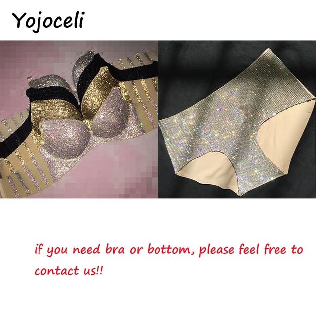 Yojoceli sexy shinny handmade rhinestone bra set women party club two piece set lingerie chic jewlery bling glamour underwear