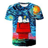 Фокус на трансграничной быстрой продажи масляный Краски Snoopy цифровая печать 3D футболка Прямая продажа от производителями импортных товаро...