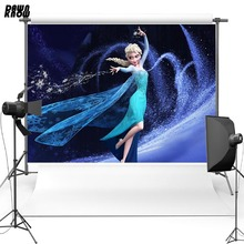 DAWNKNOW Cartoon Vinyl Photography Background For Baby Elsa Princess Polyester Backdrops Children Photo Studio Props G069