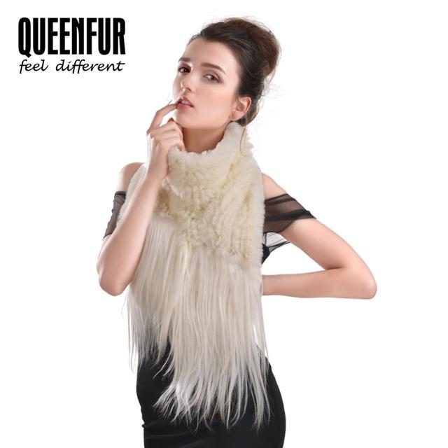 Mulheres Lenços de Inverno 2016 New Coelho Real Lenço da Pele Com Xale De Pele de cabra Moda Feminina Malha Rex Rabbit Fur Longo cachecol