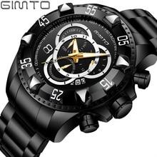 Gimto Новые Роскошные Кварцевые часы для мужчин горячий черный Лидирующий бренд золото нержавеющая сталь водонепроница