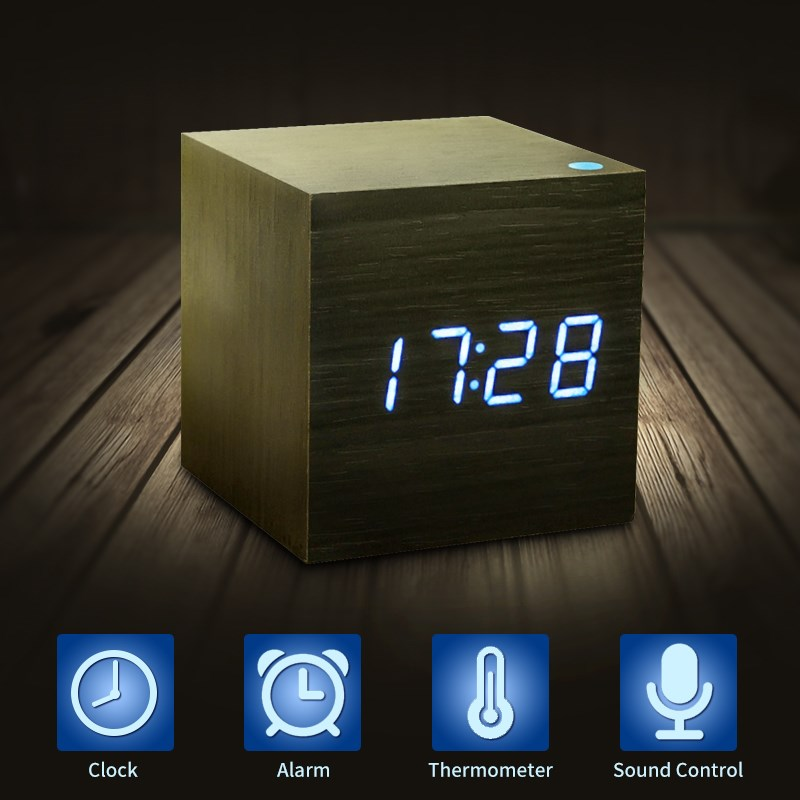 cube wooden led alarm clock led display electronic desktop. Black Bedroom Furniture Sets. Home Design Ideas