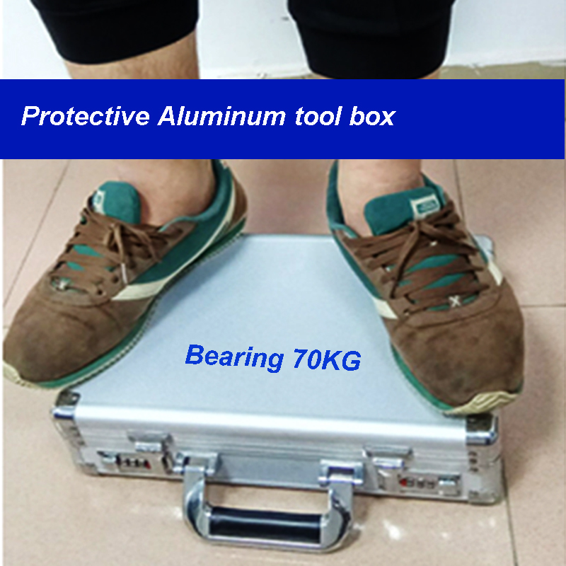 Aluminum Tool Box Portable Instrument Box Storage Case With Sponge Lining Handheld Impact Resistant Tool Box With Foam