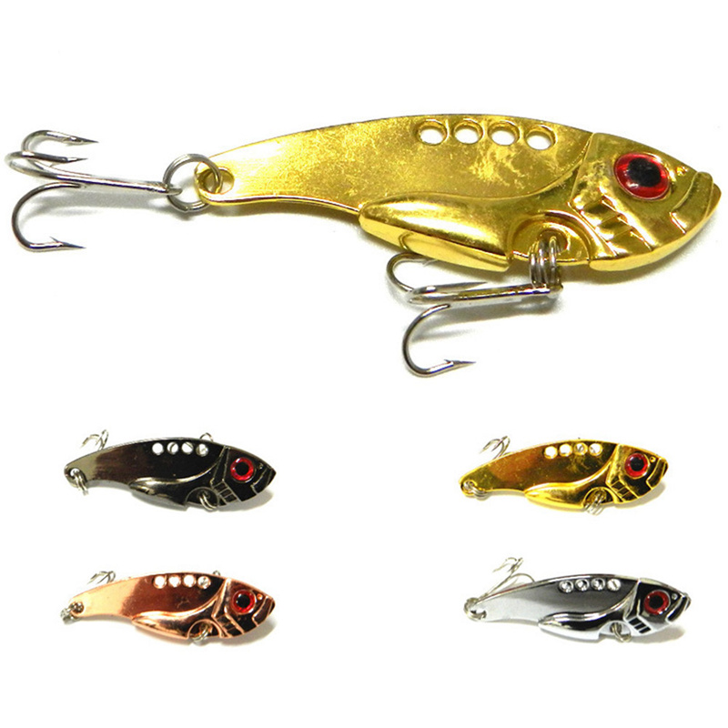 1Pcs Metal Lures 5.5cm 11g vivid Vibrations Spoon Lure Fishing bait Bass Artificial Hard Bait Cicada lure VIB Bait 3D Eyes