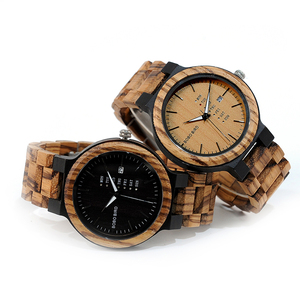 Image 4 - BOBO BIRD WO26 Zebra Wood Watch for Men with Week Display Date Quartz Watches Classic Two tone Wooden Drop Shipping