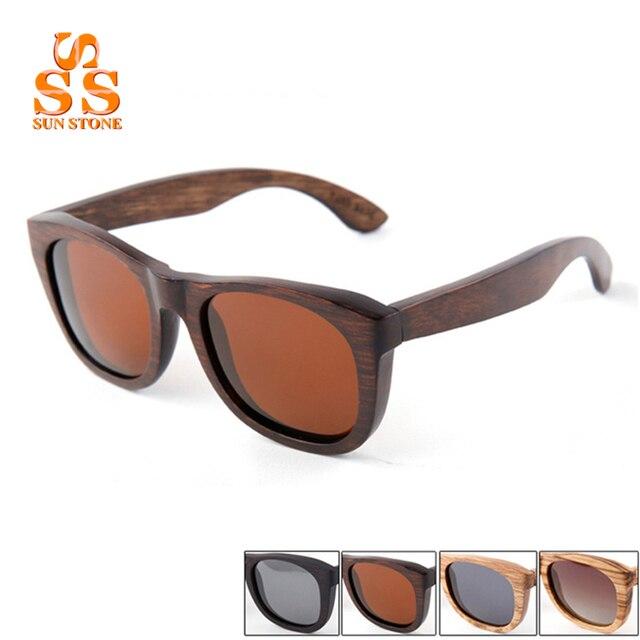 SUNSTONE Registro Completo Hecho A Mano de Madera gafas de Sol Polarizadas y Caja Hombres Mujeres Brand Vintage Madera Polaroid Lentes de Conducción Shades. SB130