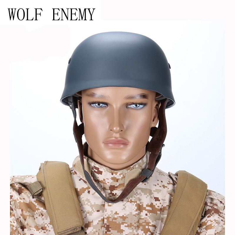 WWII German Fallschirmjager M38 Steel Helmet With Leather Liner Grey Paratrooper Helmet World War 2 German M38 Helmet ba904 academy wwii german artwox battleship bismarck wood deck aw10047