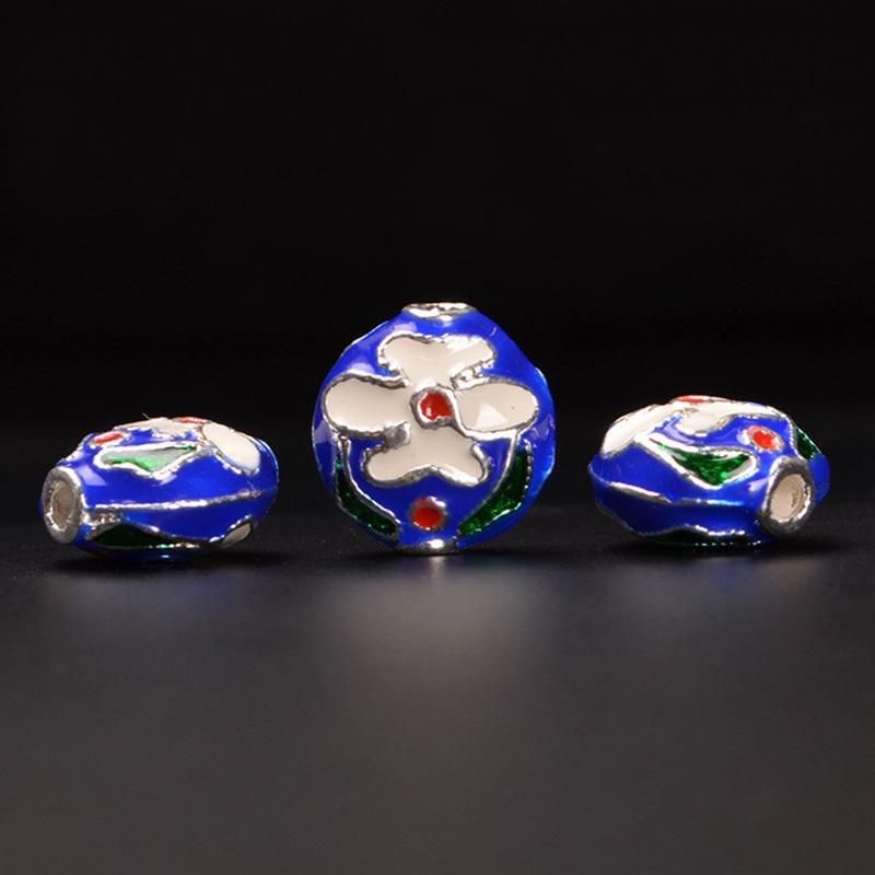 5 PCS 13*7.5mm Vintage Alloy Enamel Drops Of Glaze Nepal Handmade Spacer Beads Hole Bead Jewelry Components 343bz