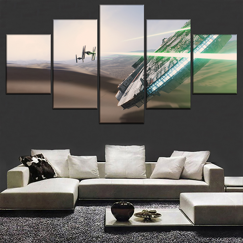 5 Panel Wall Art Pictures Movie Star Wars Flying Objects Painting On Canvas Printing Type Modern Home Decorative Living Room image