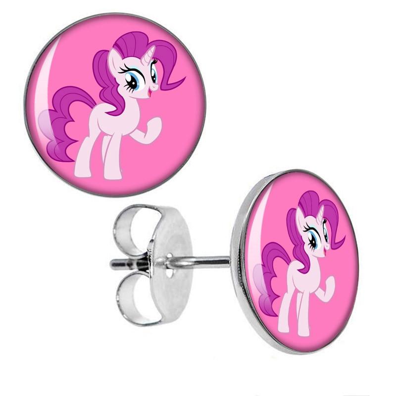 ჱAcero inoxidable Pink pony Pendientes de broche Fake plugs ...