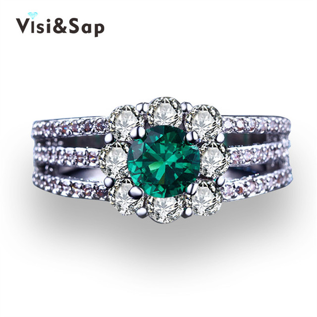 Visisap Flowers Vintage Green Stone Engagement Rings For Women Cubic Zirconia Wedding Ring White gold color Jewelry VSR194