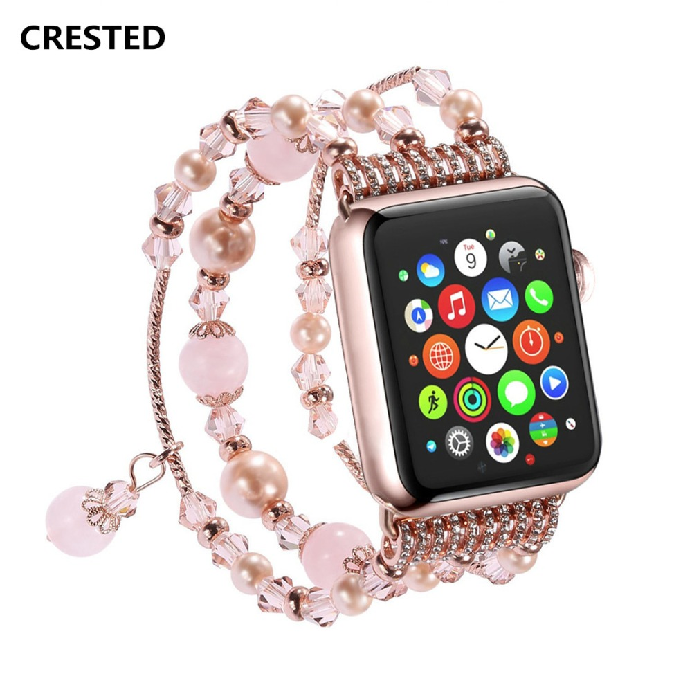 CRESTED Luxury Agate Women watch band strap For apple watch 38mm iwatch 3 2 1 Ladies wrist bracelet watchband With Adapter luxury ladies watch strap for apple watch series 1 2 3 wrist band hand made by crystal bracelet for apple watch series iwatch