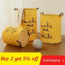 Large Laundry Basket Toy Storage Picnic Box Cotton Washing Clothes Baby Orgnizer Bin Make me smile La Love You