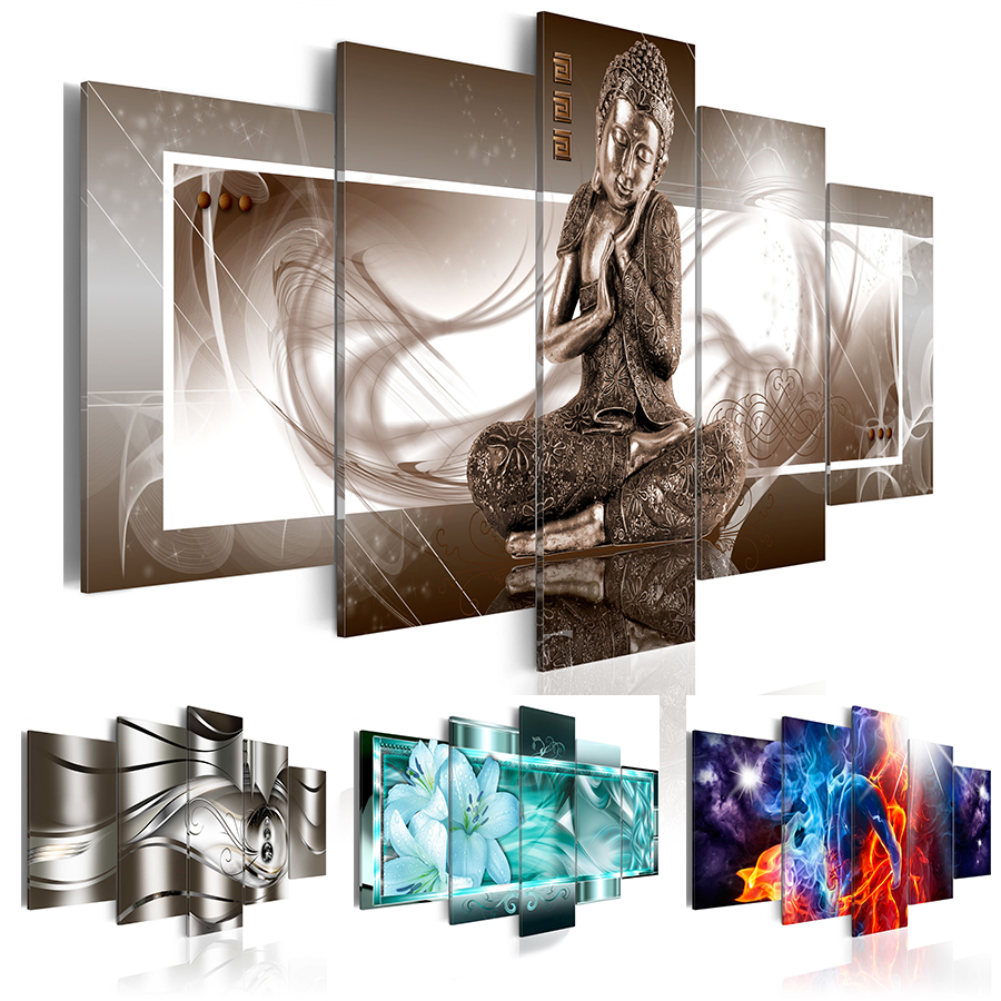 2019 5PCS/Set Fashion Wall Art Canvas Painting Buddha