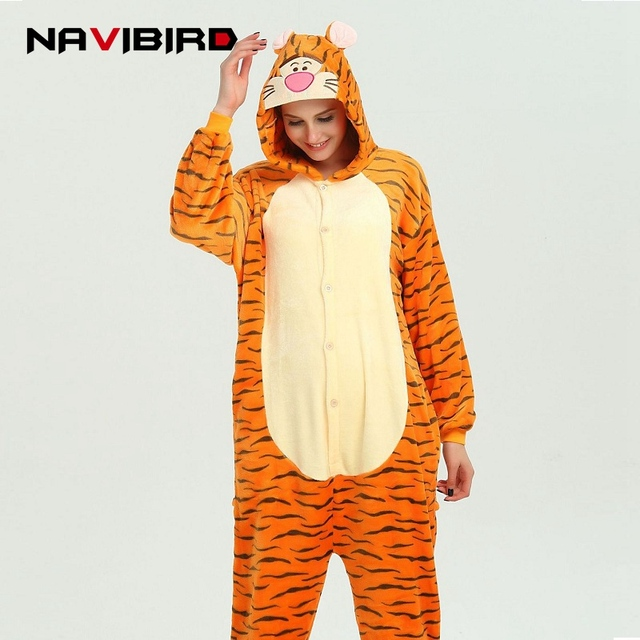 c4fdef85ad26 One-Piece Tigger Onesie Pajamas Women Christmas Kigurumi Overalls Pyjama  Pikachu Animal Onesies Pijama Totoro Adult Jumpsuit