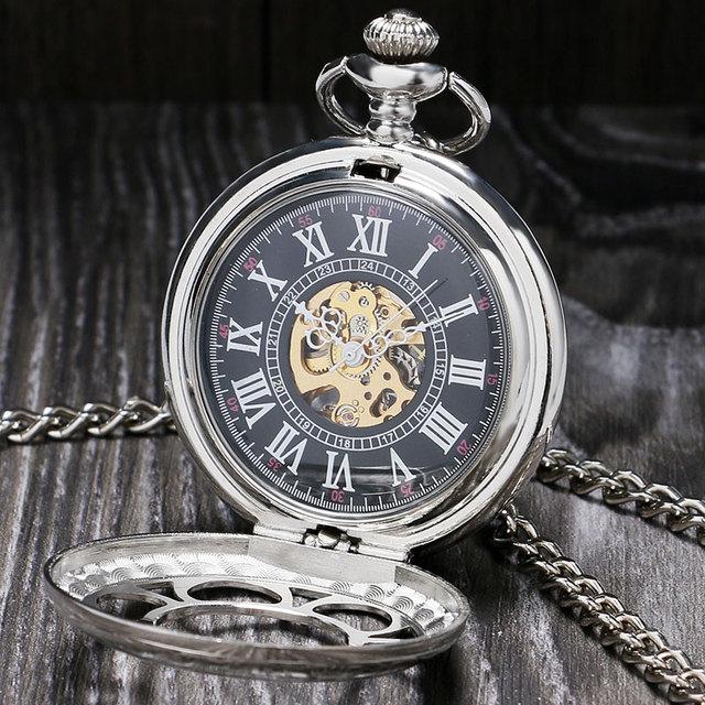 Antique Magic Roman Half Hunter Mechanical Pocket Watch