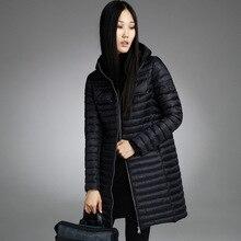 Misun2016 осенью и зимой на средние и длинные тонкие вниз пальто женской моды с капюшоном