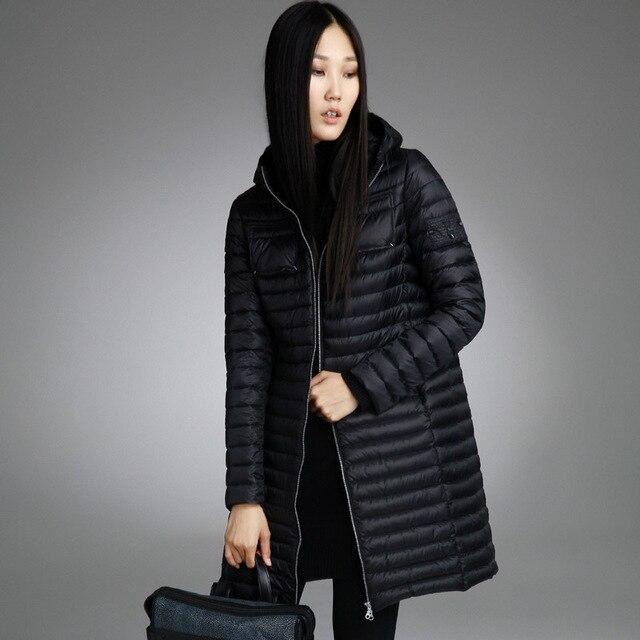 Misun2016 autumn and winter medium-long thin down coat female fashion with a hood