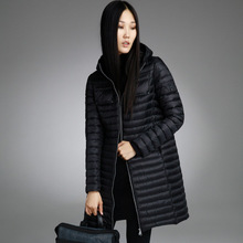 Misun2017 spring  autumn and winter medium-long Light and thin down coat female fashion with a hood women's jackets for girl