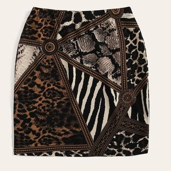 Falda mini ceñida animal print mixto verano 3