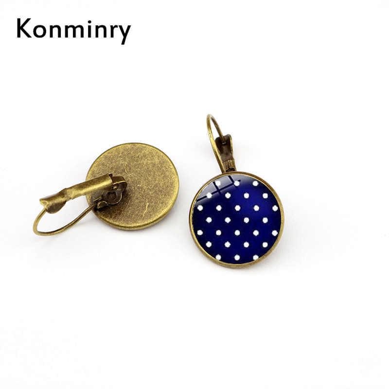 Konminry Fashion Sederhana Warna Spot Bahasa Perancis Hook Anting-Anting Polka Dot Round Glass Dome Drop Anting-Anting untuk Wanita Wanita Hadiah