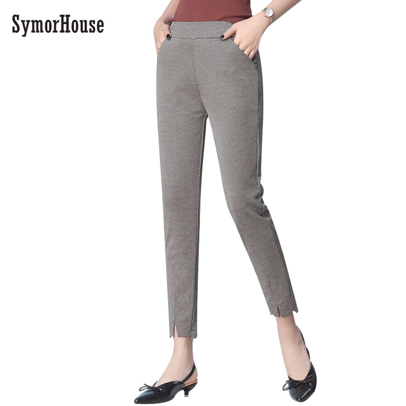 SymorHouse Plaid Harem   Pants   2019 New Casual Elastic Waist Elegant OL Work Suit   Pants     capris   Worsted Blends Slim Plaid Trousers