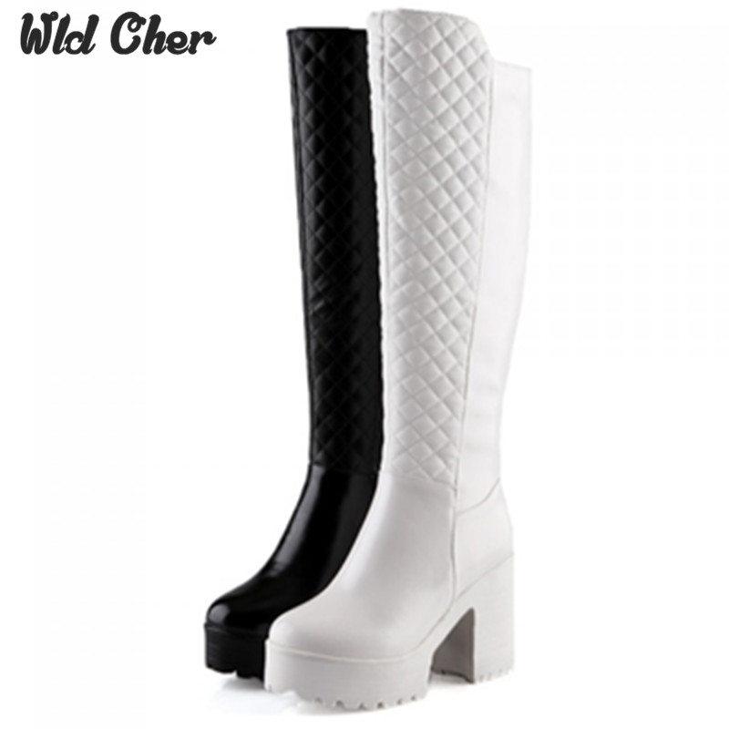 High heel waterproof 43 Warm fur winter slip on wedges high heels over the knee women shoes sexy platform flock snow boots woman