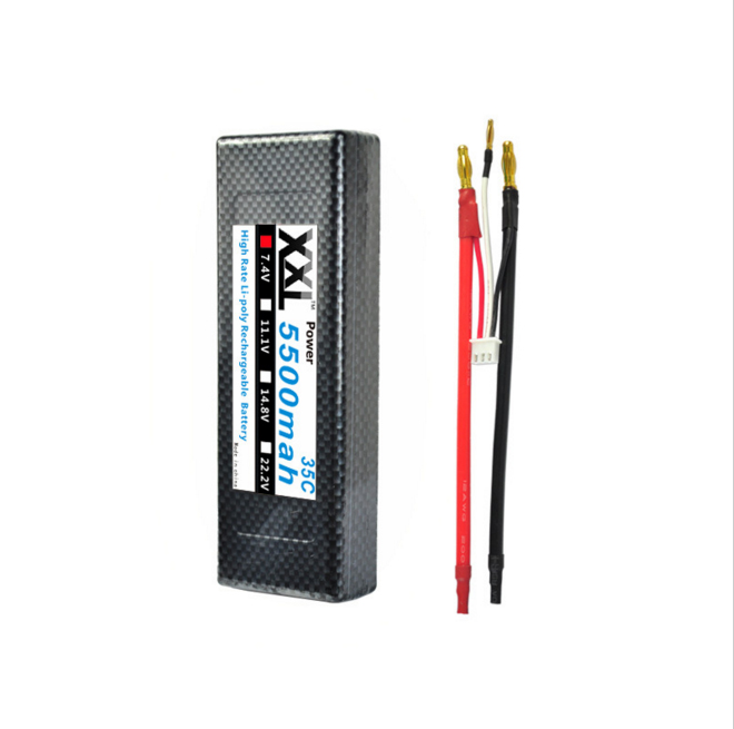 XXL Hard Case RC Car LiPo Battery 7.4V 5500mAh 35C max 70C 2S Banana Connector A