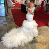 gelinlik vestido de noiva Arabic Bridal Dresses Mermaid Wedding Gowns Off Shoulder Lace Up robe de mariee Wedding Dress Long