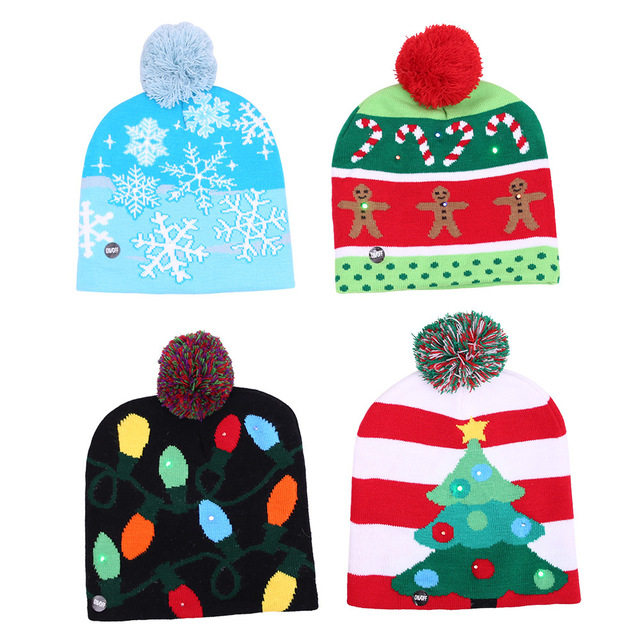 Funny Led Light Knitted Christmas Hat Kids Adults Hat Xmas New Year  Christmas Decoration Party Favors Tree Snowflake Crutch Hat d5febfa9adf