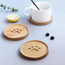 7580b19067a0e بسيط لطيف القط باو الخشب شرب كوستر سادة جميلة القهوة كأس حصيرة الشاي سادة  الطعام لينة خشبية المفارش اكسسوارات الديكور 1 قطعة