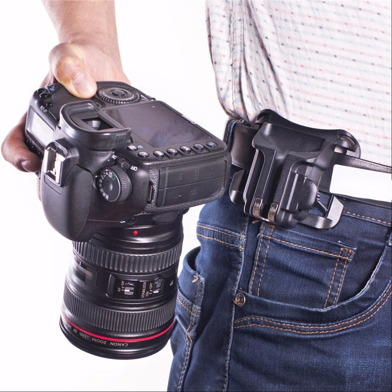Centechia Holster Hanger Quick Release Mount Buckle Strap Waist Belt Buckle Button Mount Clip For Sony Canon Nikon DSLR Camera