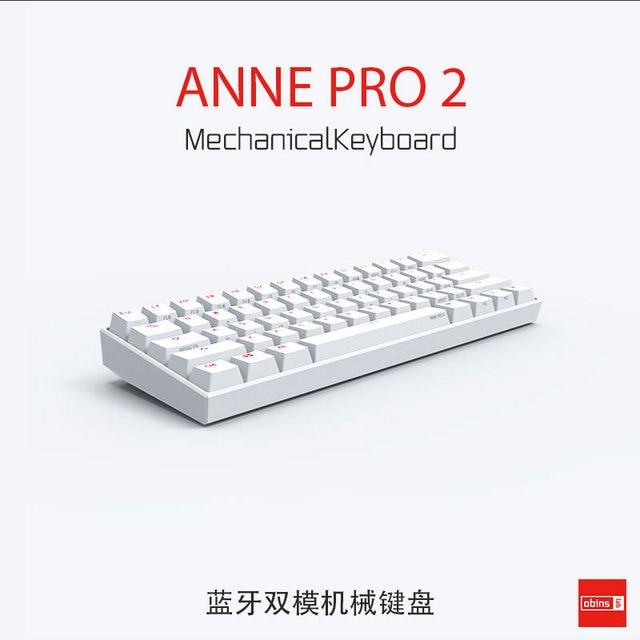 Anne Pro2 mini przenośny 60% mechaniczna klawiatura bezprzewodowa bluetooth Gateron mx niebieski brązowy przełącznik klawiatura do gier odłączany kabel