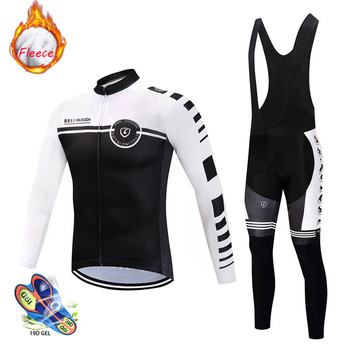 2019 Winter thermal fleece Cycling Clothes men Jersey suit outdoor bike MTB clothing Bib Pants set ropa ciclismo hombre - discount item  43% OFF Cycling