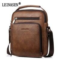LEINASEN Brand Men Vintage Shoulder Bags Large Capacity Multi Fonction Leather Casual Messenger Crossbody Bag Fashion