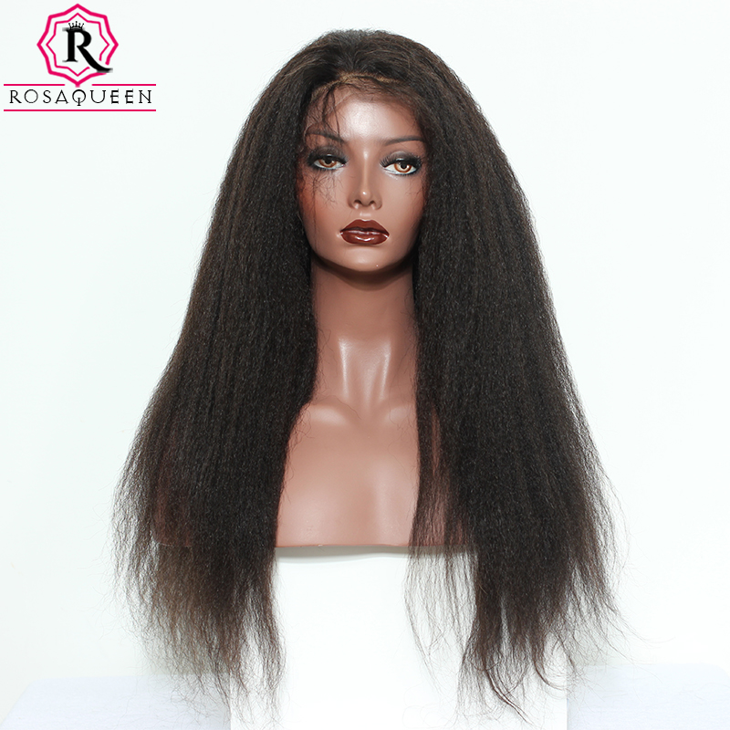 Lace Front Human Hair Wigs For Women 250 Density Brazilian Kinky Straight Remy 13x6 Pre Plucked Full End Natural Black Dolago