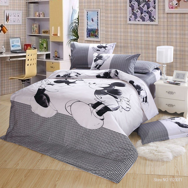 100 Cotton Kissing Mickey Minnie Mouse Bedding Sets 4pcs Queen King Nice Bed Linen